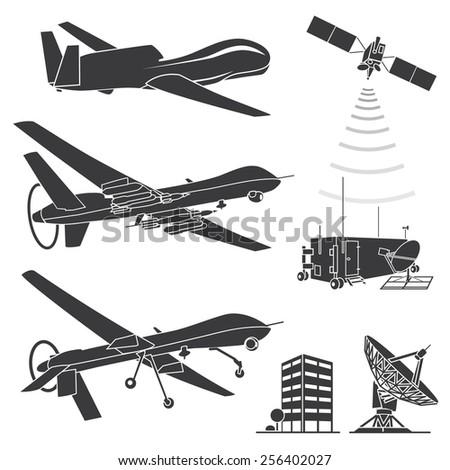 Military drones. Vector illustration. - stock vector