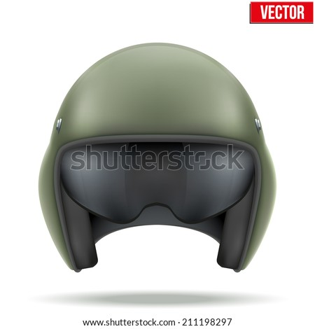 Military flight helicopter helmet. Vector illustration isolated on white background. - stock vector