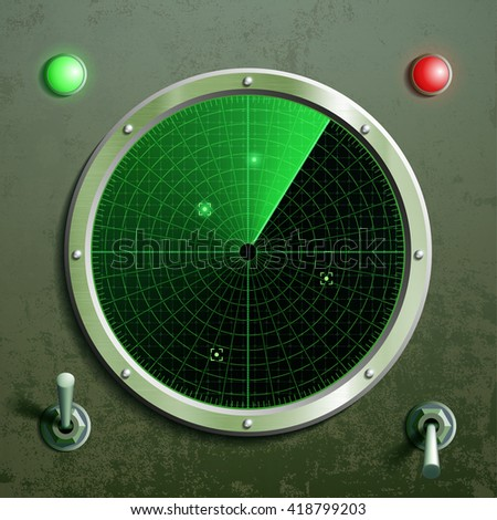 Military green radar. Screen with the target and toggle switches. Stock vector illustration. - stock vector