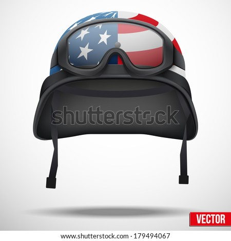 Military helmet and goggles with USA flag. Vector illustration. Metal army symbol of defense. Isolated on white background. Editable. - stock vector