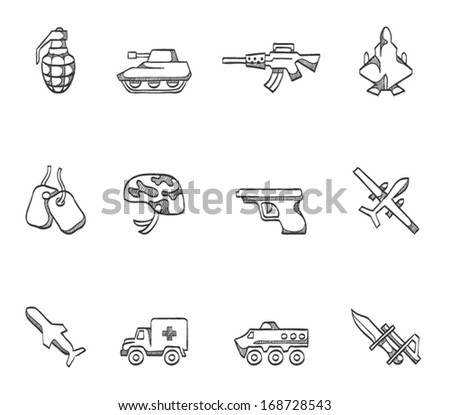 Military icons in sketches - stock vector