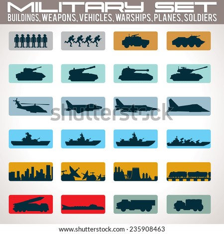 Military Icons Set. Include: Buildings, Tanks, Vehicles, Warships, Planes and Soldiers. Vector - stock vector