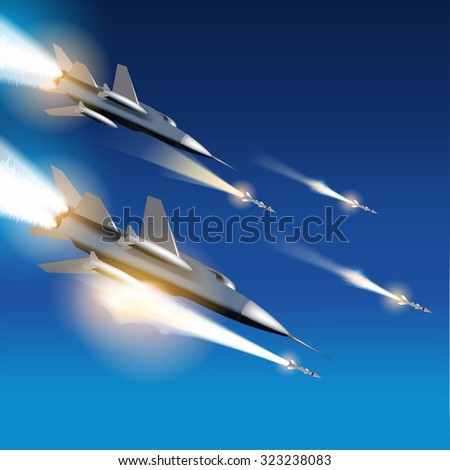 Military jets shooting at ground targets. Fighter jets fired a missiles. Vector illustration - stock vector