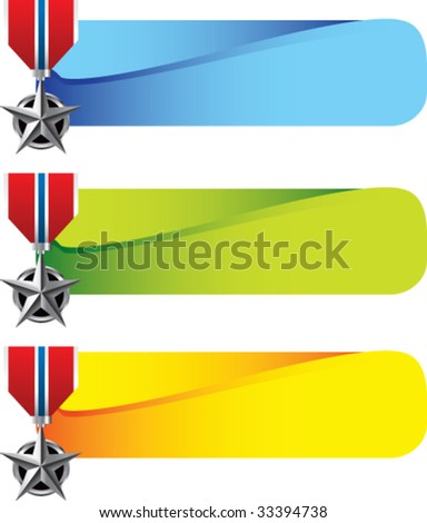 military medal on colored tabs - stock vector