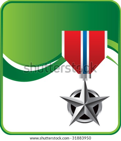 military medal on green wave background - stock vector