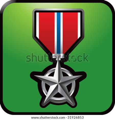 military medal on green web button - stock vector