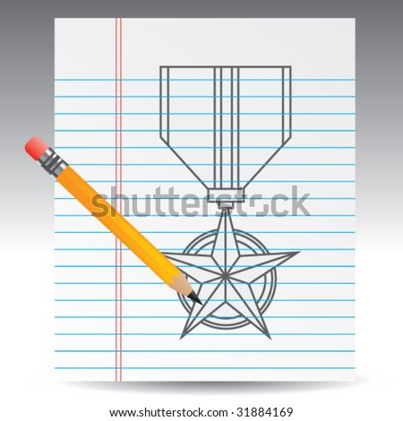 military medal on notebook paper with pencil - stock vector