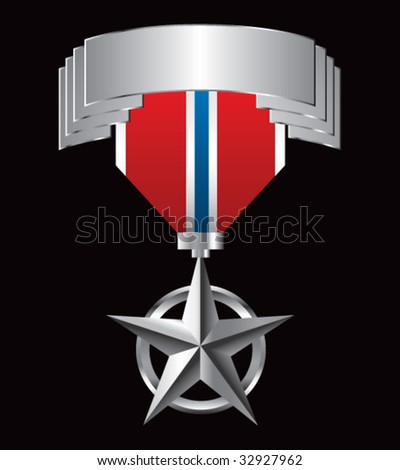 military medal on silver display - stock vector