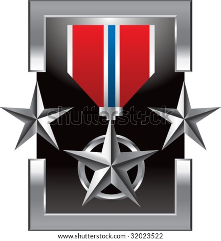 military medal on silver star background - stock vector
