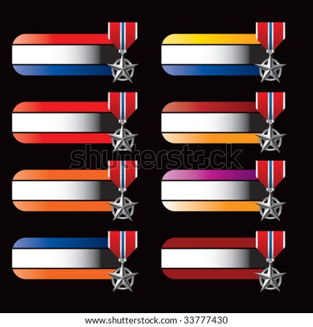 military medal on specialized banners - stock vector