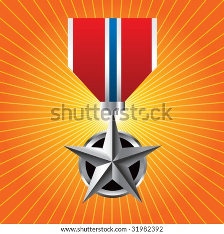 military medal on starburst - stock vector