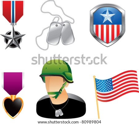 Military medals, pins, dog tags, soldier, and american flag on white background - stock vector