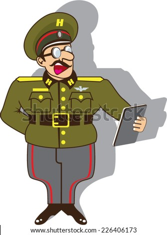Military officer cartoon vector - stock vector