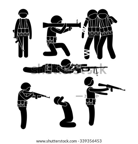 Military people Stick Figure Pictogram Icons - stock vector