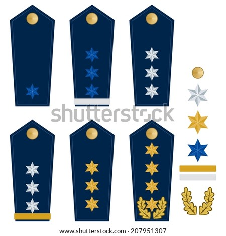 Military ranks and insignia of the world. Illustration on white background. - stock vector