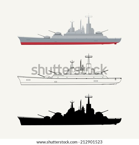 Military ship in three different versions. EPS10. - stock vector