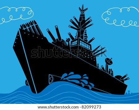 military ship with guns - stock vector