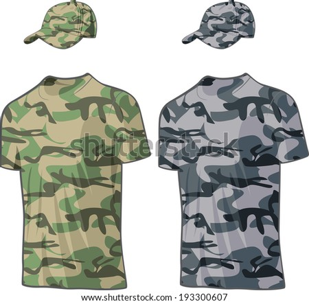 Military Shirts and caps templates. Vector illustration - stock vector