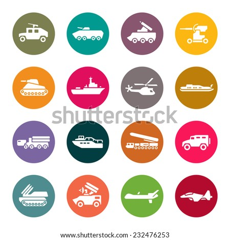Military technology icon set - stock vector