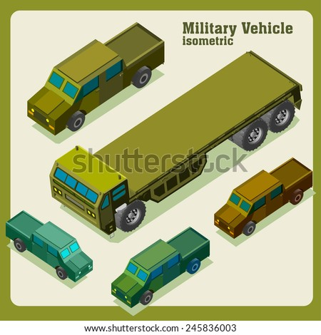 military truck isometric. vehicle vector set - stock vector