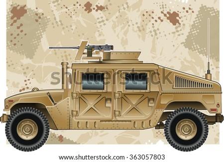military vehicle with heavy machine gun - stock vector