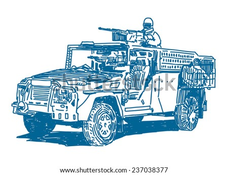 Military vehicle with machine gun sketch drawing isolated on white background  - stock vector