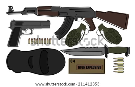 Military weapon pack - terrorism: AK-47, pistol, grenades, knife, bullets, mask, explosive  - stock vector