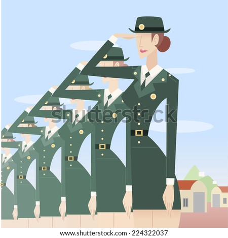 Military woman formation - stock vector