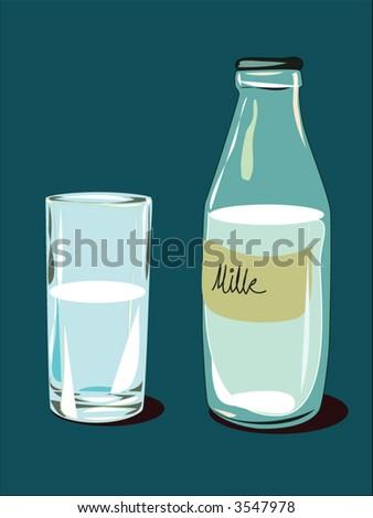 milk bottle orange background pop art - stock vector