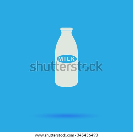 Milk bottle White flat vector simple icon on blue background with shadow  - stock vector
