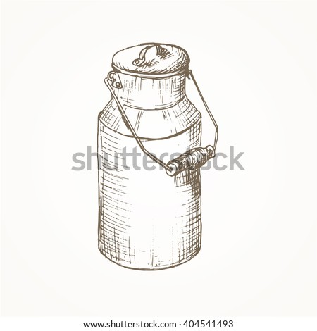 Milk cans sketch. Farm jar. Vintage container. Milk cans vector illustration. Dairy jug. Hand drawn milk cans. Milk farm equipment - stock vector