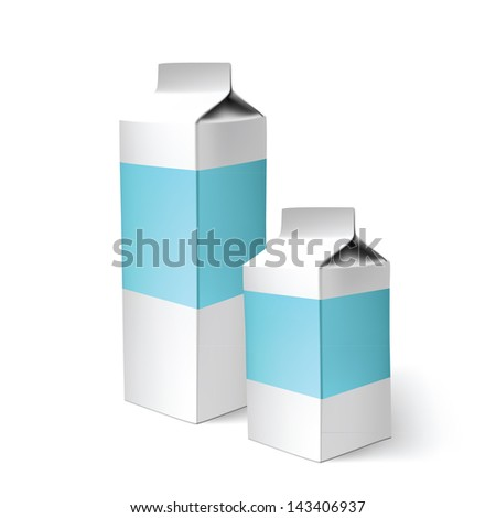 milk carton white box blank packaging pack design product illustration paper empty two - stock vector