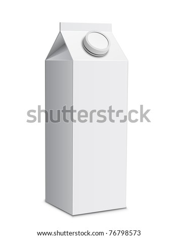 Milk carton with screw cap. Vector illustration of white milk box - stock vector