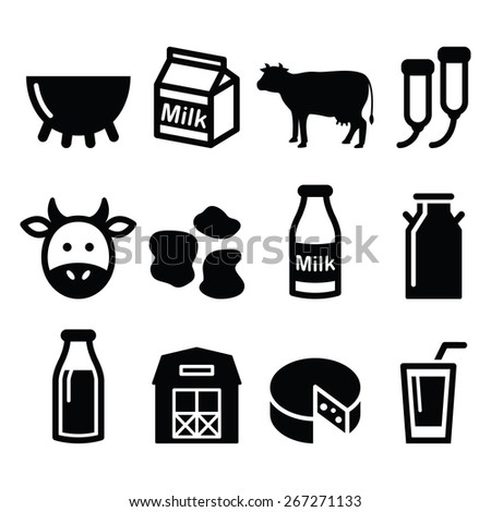 Milk, cheese production, cow vector icons set  - stock vector