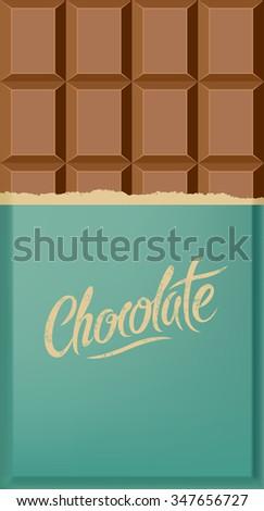 Milk chocolate bar. Calligraphic vintage Chocolate poster design. Vector illustration. - stock vector