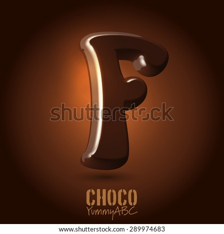 Milk chocolate retro curved glossy vector dark 3d typeset - capital F - stock vector