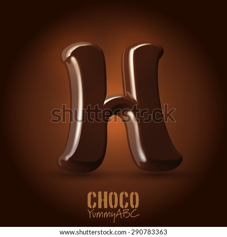 Milk chocolate retro curved glossy vector dark 3d typeset - capital H - stock vector