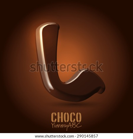 Milk chocolate retro curved glossy vector dark 3d typeset - capital L - stock vector