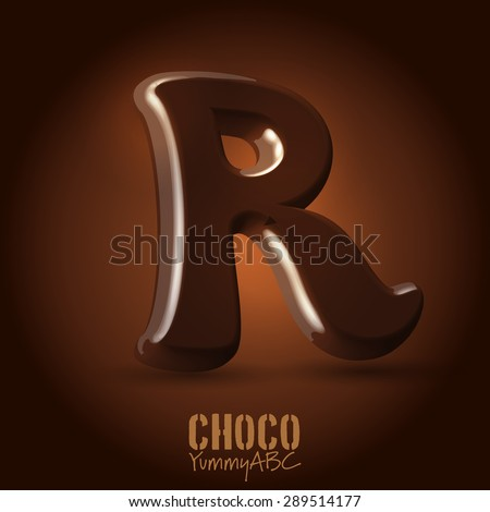 Milk chocolate retro curved glossy vector dark 3d typeset - capital R - stock vector