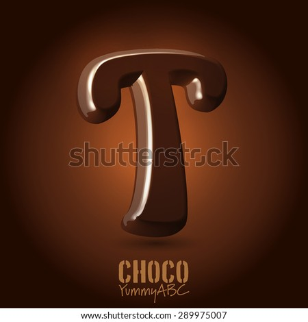 Milk chocolate retro curved glossy vector dark 3d typeset - capital T - stock vector