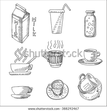 Milk, coffee, tea and beverage icons set sketch drawing, for dairy marketing  restaurant and  cafe design - stock vector