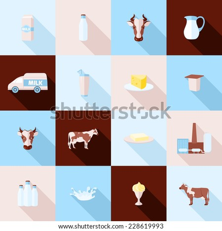 Milk dairy product flat long shadow icons set with processing splash sour cream isolated vector illustration - stock vector
