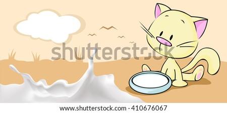 milk horizontal banner design with cute kitty and milk splash - stock vector
