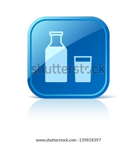 Milk icon on blue square button - stock vector