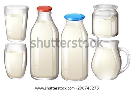 Milk in glasses and bottles - stock vector