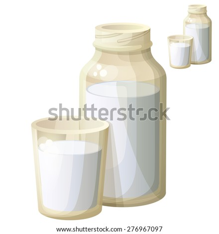 Milk in the glass and bottle. Detailed Vector Icon isolated on white background. Series of food and drink and ingredients for cooking. - stock vector