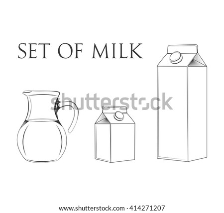 Milk. Jug milk. Carton Package. Box of milk. Vector illustration. - stock vector