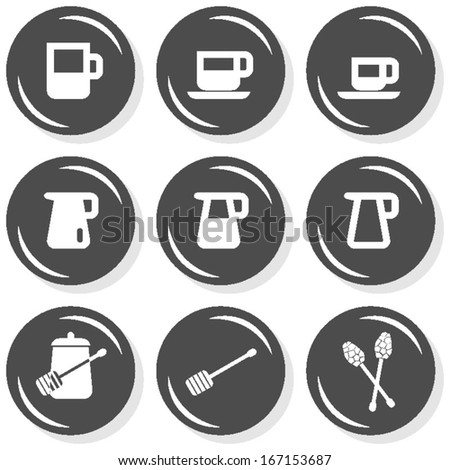 milk jug sugar coffee time cafe drink related button set isolated on white background  - stock vector