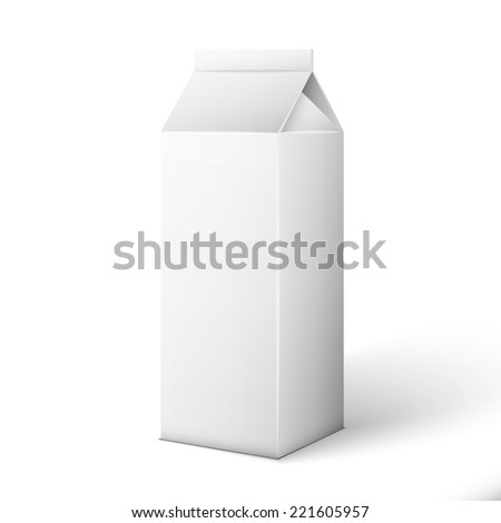 Milk, Juice, Beverages, Carton Package Blank White On White Background Isolated.  - stock vector