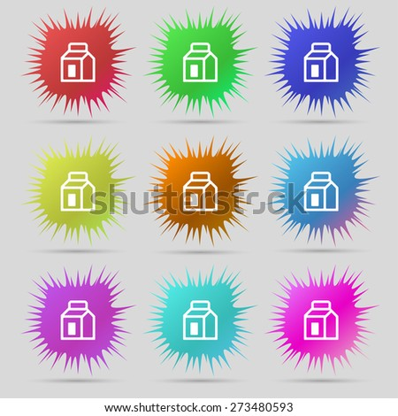 Milk, Juice, Beverages, Carton Package icon sign. A set of nine original needle buttons. Vector illustration - stock vector
